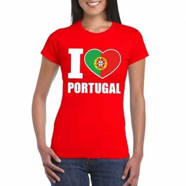 Rood i love portugal fan shirt dames