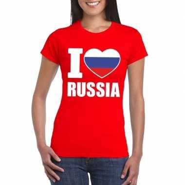Rood i love rusland fan shirt dames