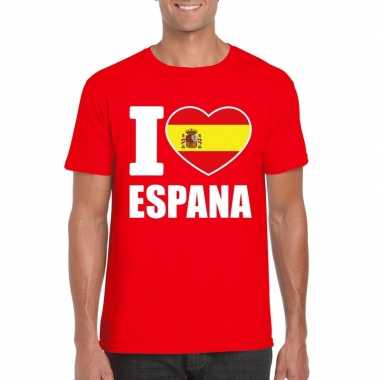 Rood i love spanje fan shirt heren