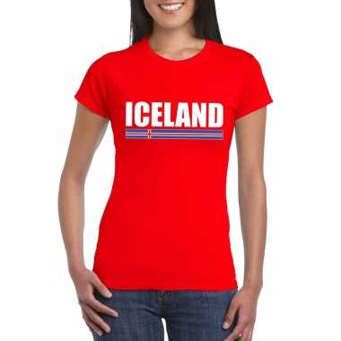 Rood ijsland supporter t shirt dames