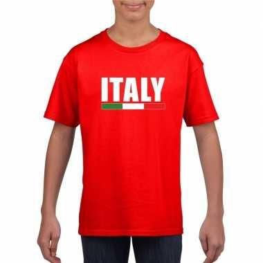 Rood italie supporter t shirt kinderen