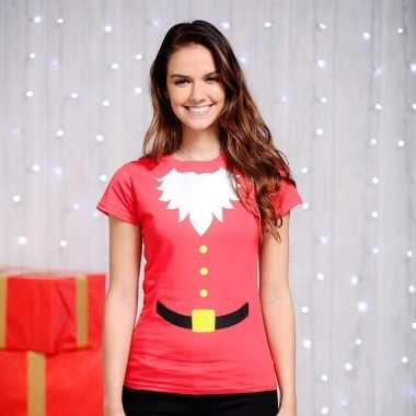Rood kerst-shirt korte mouw dames
