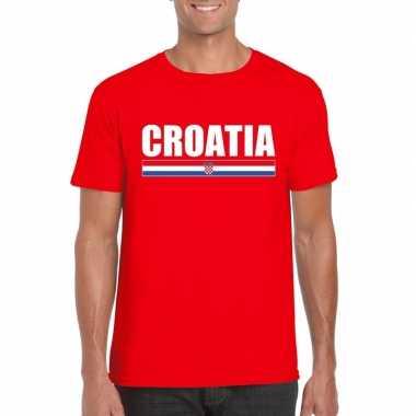 Rood kroatie supporter t shirt heren