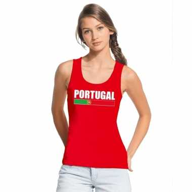 Rood portugal supporter singlet shirt/ tanktop dames