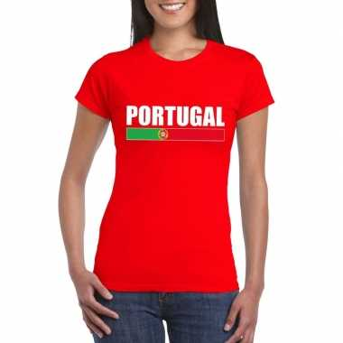 Rood portugal supporter t shirt dames