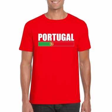 Rood portugal supporter t shirt heren