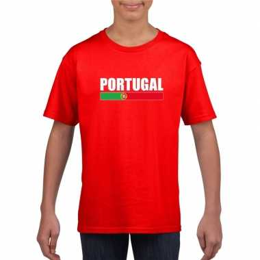 Rood portugal supporter t shirt kinderen