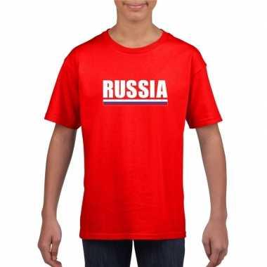 Rood rusland supporter t shirt kinderen