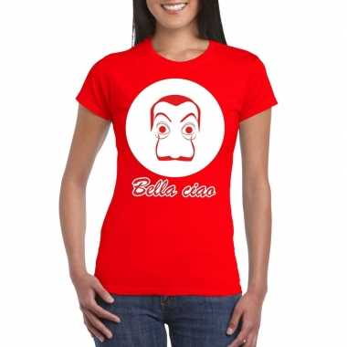 Rood salvador dali t-shirt dames
