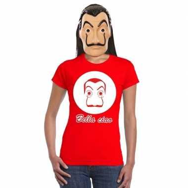 Rood salvador dali t shirt la casa papel masker dames