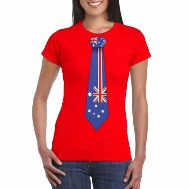 Rood t shirt australie vlag stropdas dames