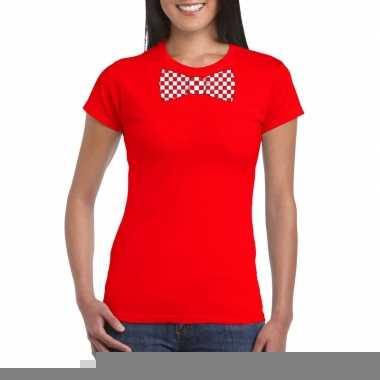 Rood t shirt geblokte brabant strik dames
