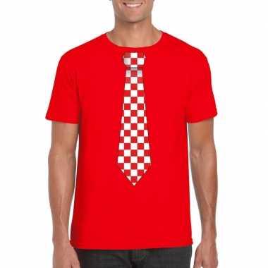 Rood t shirt geblokte brabant stropdas heren