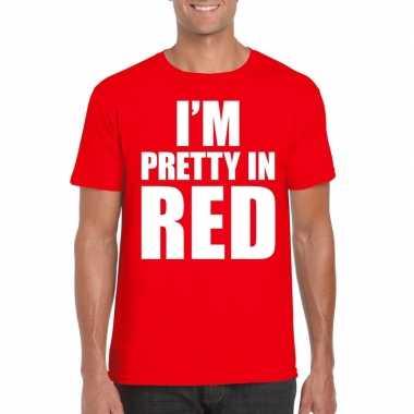 Rood t shirt i am pretty red bedrukking heren
