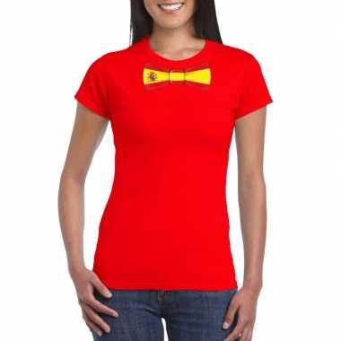 Rood t shirt spanje vlag strikje dames