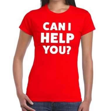 Rood tekst shirt can i help you bedrukking dames