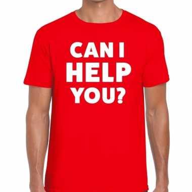 Rood tekst shirt can i help you bedrukking heren