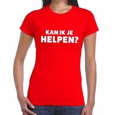 Rood tekst shirt kan ik je helpen bedrukking dames