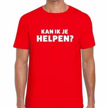 Rood tekst shirt kan ik je helpen edrukking heren