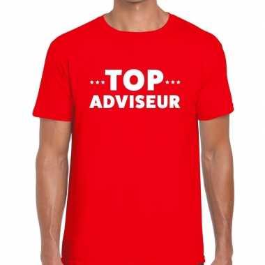 Rood tekst shirt top adviseur bedrukking heren