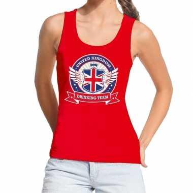 Rood united kingdom drinking team tanktop/mouwloos shirt dames