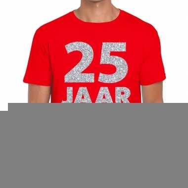 Rood vijfentwintig jaar verjaardag shirt rood heren zilveren bedrukki