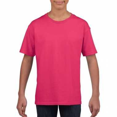 Roze basic t shirt ronde hals kinderen / unisex katoen