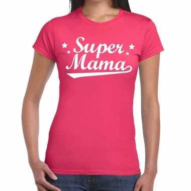 Roze cadeaushirt moeders super mama bedrukking