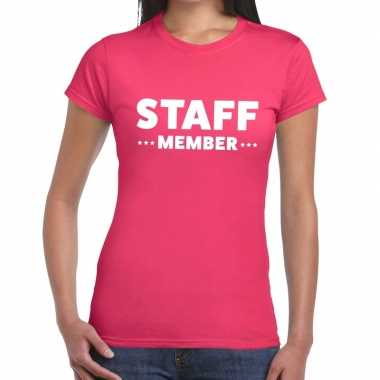 Roze crew shirt staff member bedrukking dames