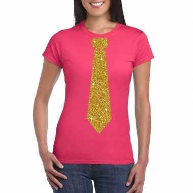 Roze fun t shirt stropdas glitter goud dames