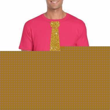 Roze fun t shirt stropdas glitter goud heren