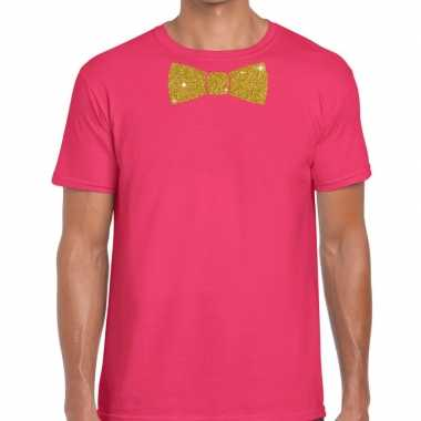 Roze fun t shirt vlinderdas glitter goud heren
