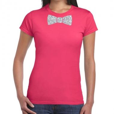 Roze fun t shirt vlinderdas glitter zilver dames