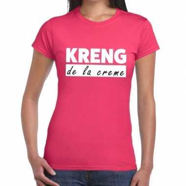 Roze t shirt kreng la creme dames