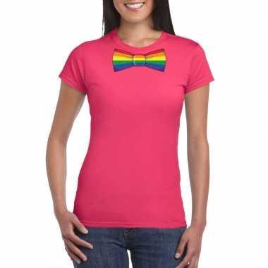 Roze t shirt regenboog vlag strikje dames