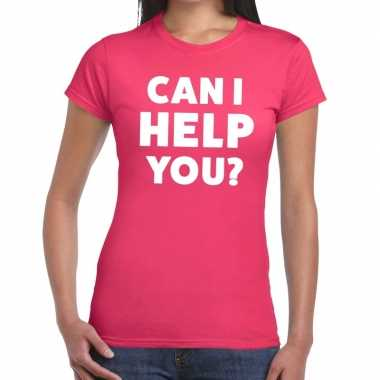 Roze tekst shirt can i help you bedrukking dames