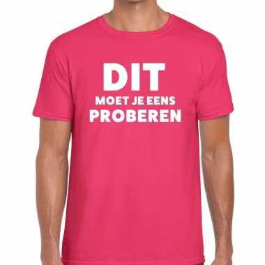 Roze tekst shirt dit moet je eens proberen bedrukking heren