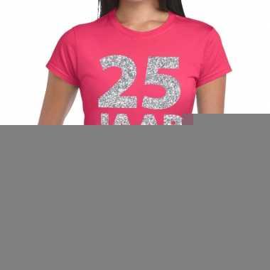 Roze vijfentwintig jaar verjaardag shirt dames zilveren bedrukking