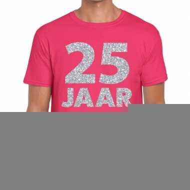 Roze vijfentwintig jaar verjaardag shirt roze heren zilveren bedrukki