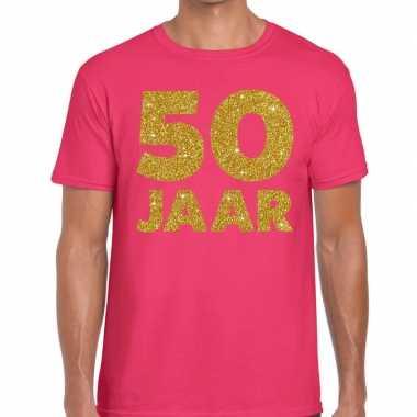Roze vijftig jaar verjaardag shirts gouden bedrukking