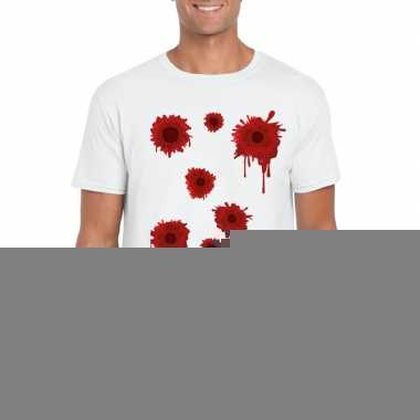 Schotwonden t shirt wit heren