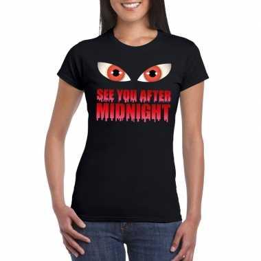 See you after midnight halloween vampier t shirt zwart dames