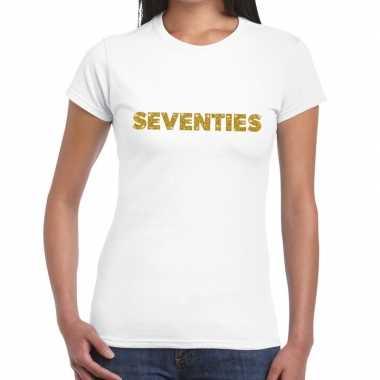 Seventies goud glitter t shirt wit dames