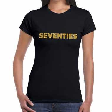 Seventies goud glitter t shirt zwart dames