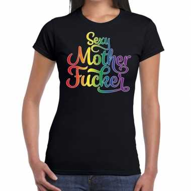 Sexy mother fucker gaypride shirt zwart dames