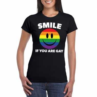 Smile if you are gay emoticon shirt zwart dames