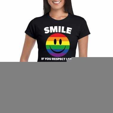 Smile if you respect lgbt emoticon shirt zwart dames