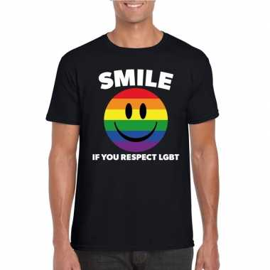 Smile if you respect lgbt emoticon shirt zwart heren