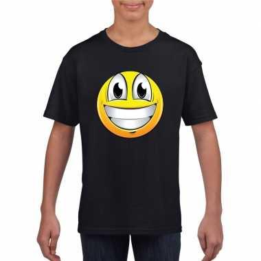 Smiley t-shirt super vrolijk zwart kinderen
