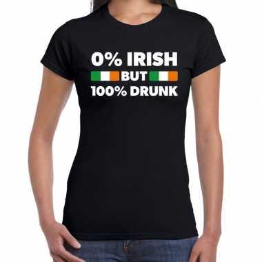 St. patricks day not irish but drunk t shirt zwart dames